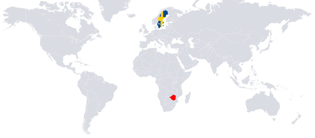 Zimbabwe (rödmarkerat) ligger i sydöstra Afrika.
