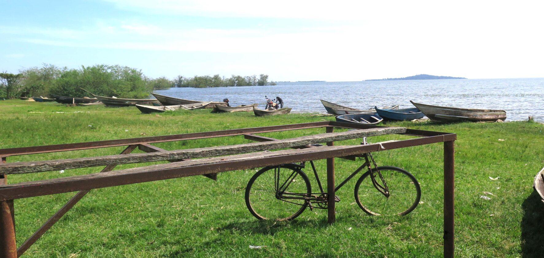 En strand med gräs, båtar uppdragna, längst fram en cykel.