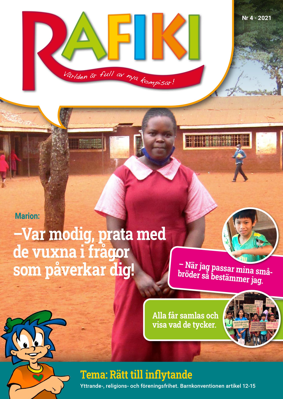Första sidan av Rafikitidningen föreställer en flicka på en skolgård.