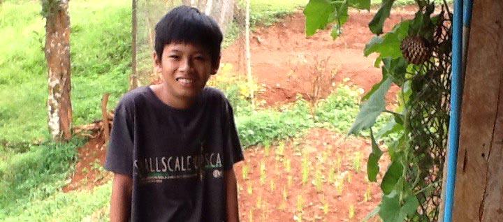 Pojke i en trädgård, tittar in i kameran.