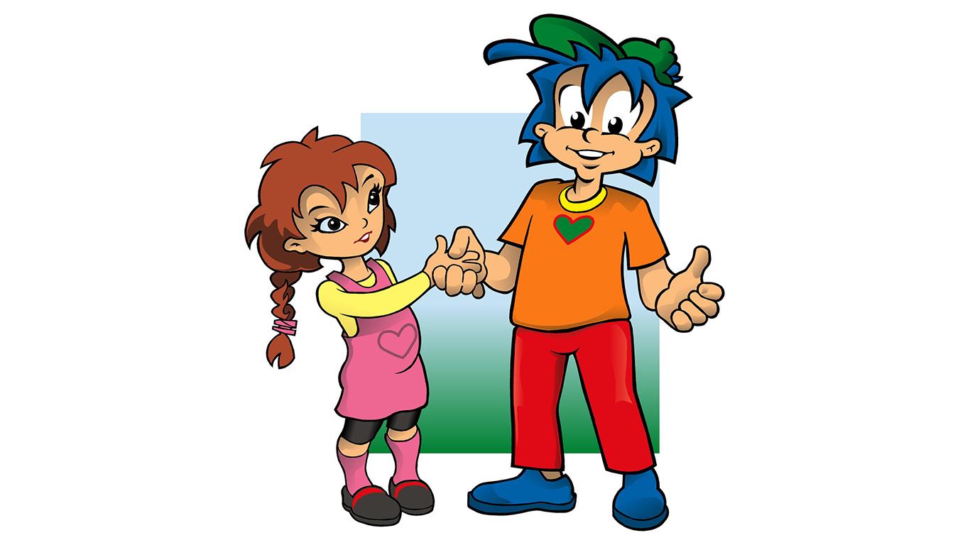 Rafiki och en flicka hälsar på varandra