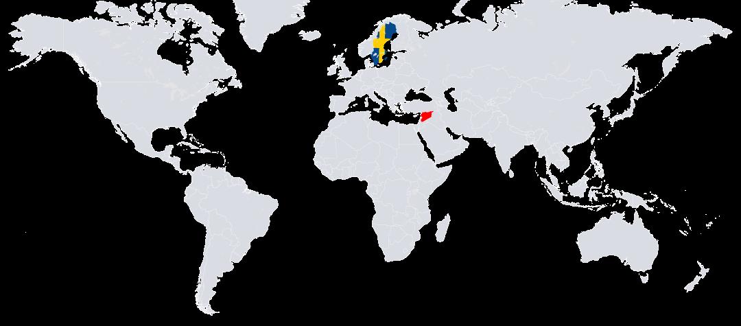 Syrien (rödmarkerat) ligger i Mellanöstern.