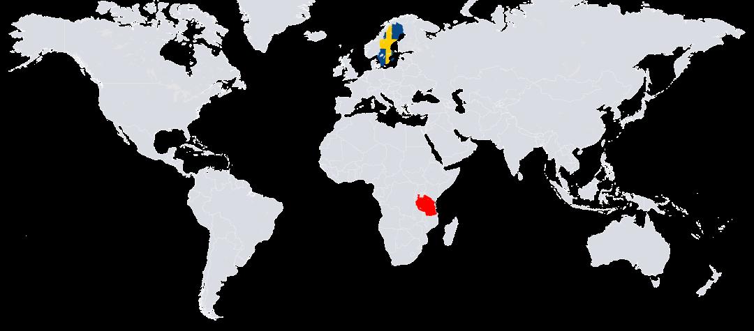 Tanzania (rödmarkerat) ligger i östra Afrika.