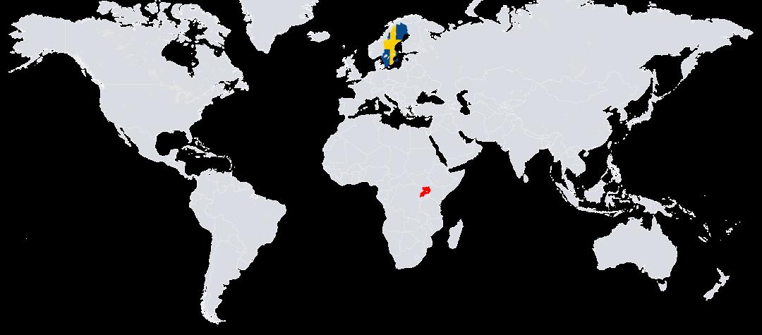 Uganda (rödmarkerat) ligger i östra Afrika.