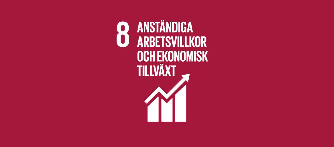 Globala målet 8 - anständiga arbetsvillkor och ekonomisk tillväxt.